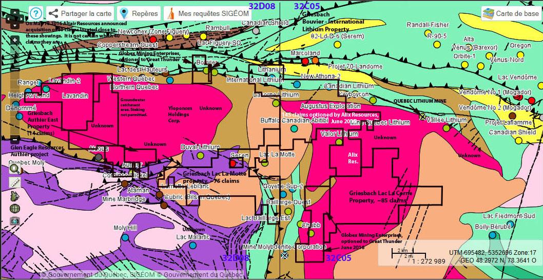 4. La Corne Complex-properties-drill holes-metals-SIGEOM general geol.