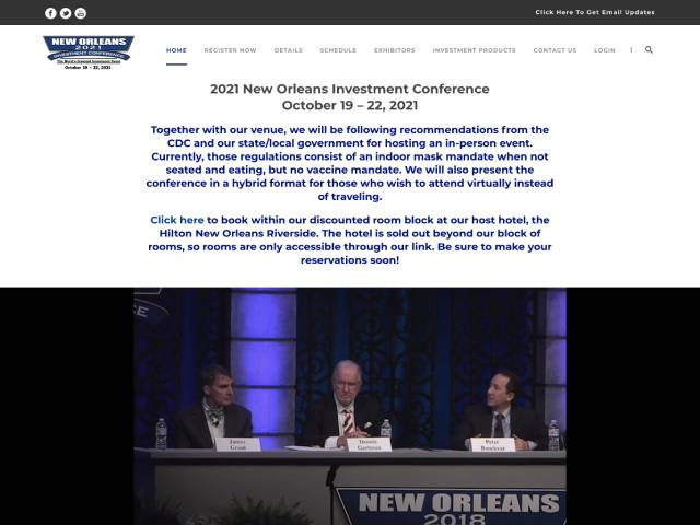 New Orleans Investment Conference 2021, Website screenshot